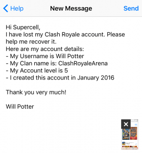 Take lost Clash Royale account back