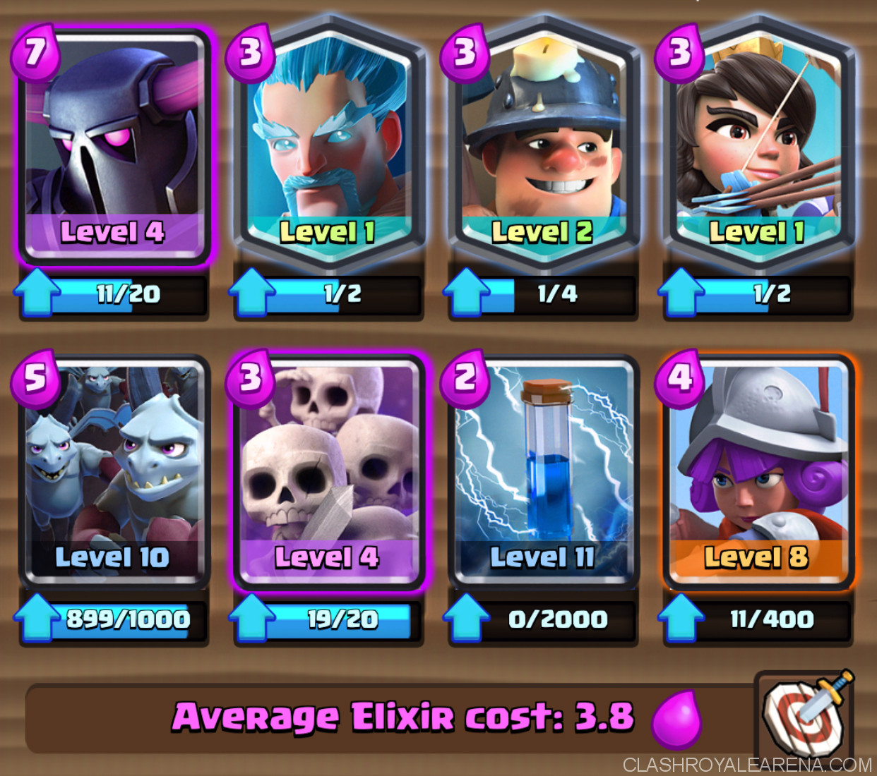 P e k k a zap bait deck for arena 9 clash royale guides for Deck pekka arene 7