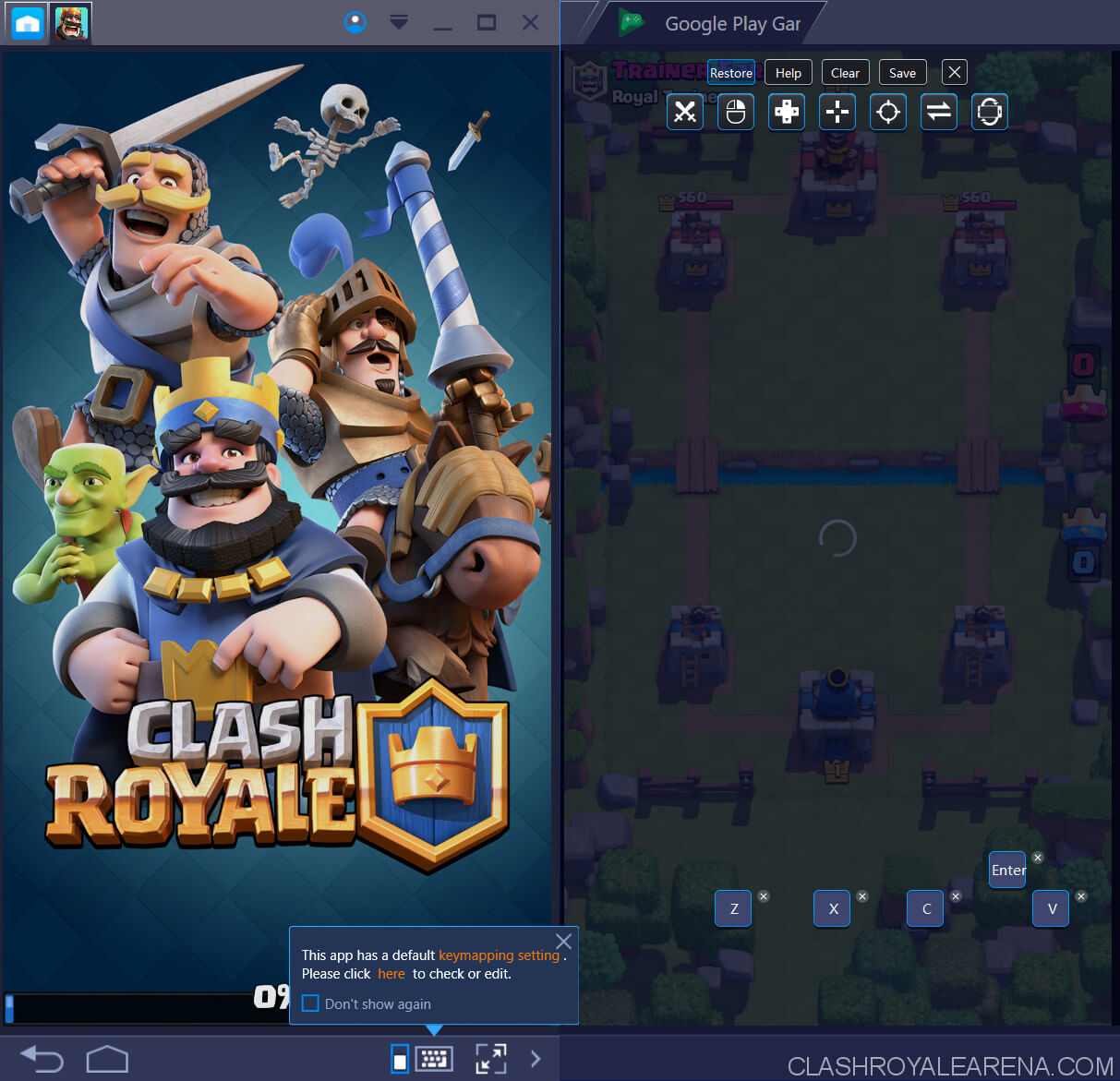 keymap for clash royale on pc