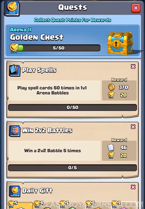 quests menu