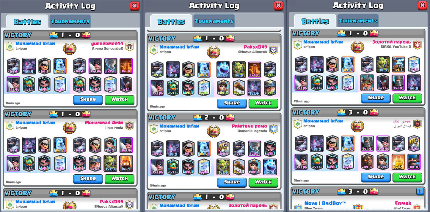 modern royale battle logs
