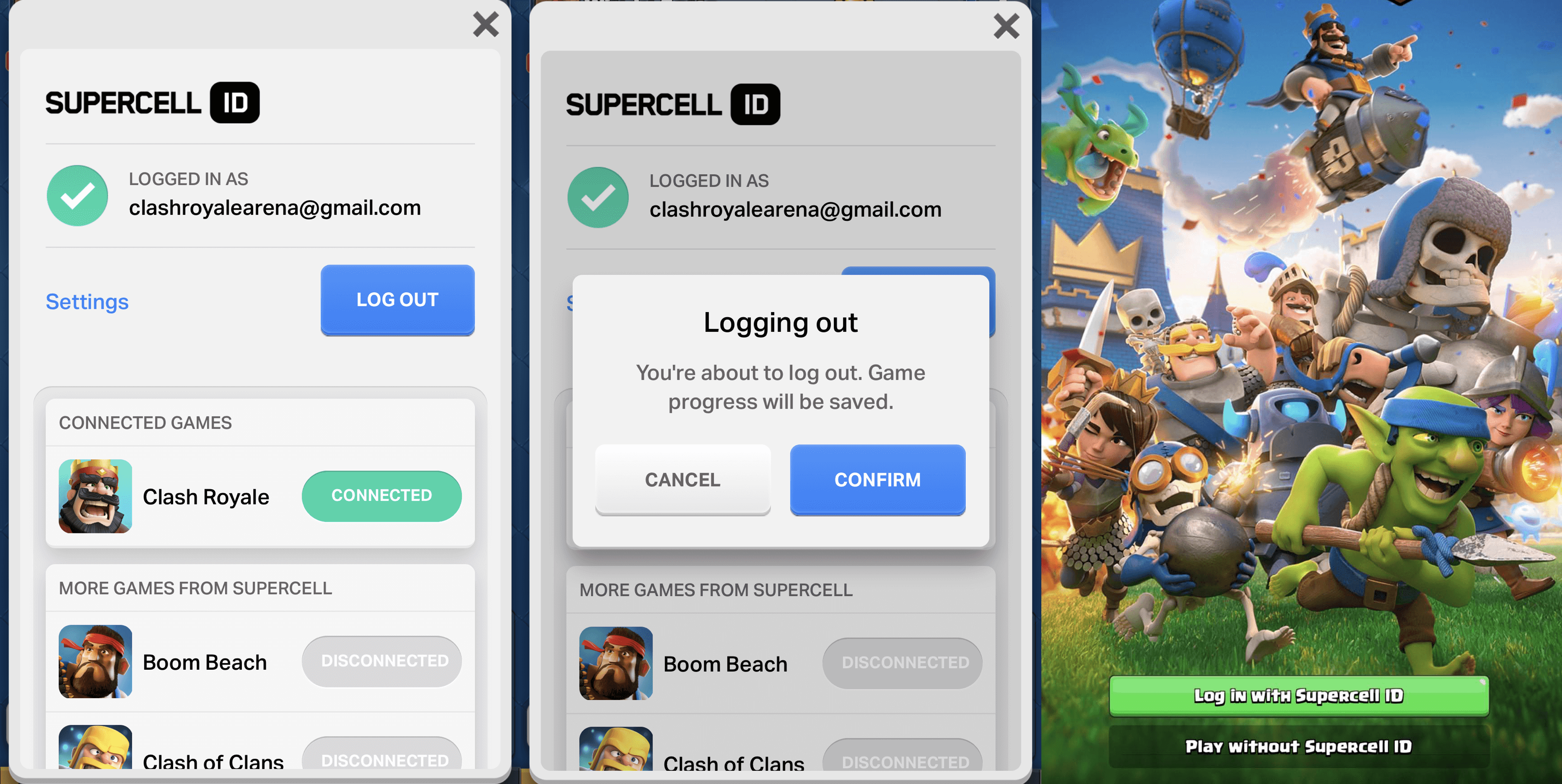 log out supercell id
